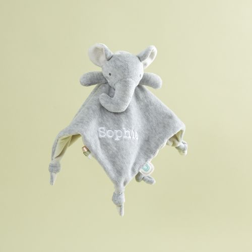 Personalised Grey Elephant Velour Comforter