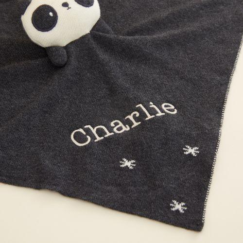 Personalised Monochrome Panda Organic Comforter