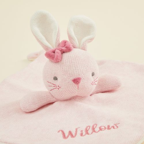 Personalised Pink Knitted Bunny Comforter