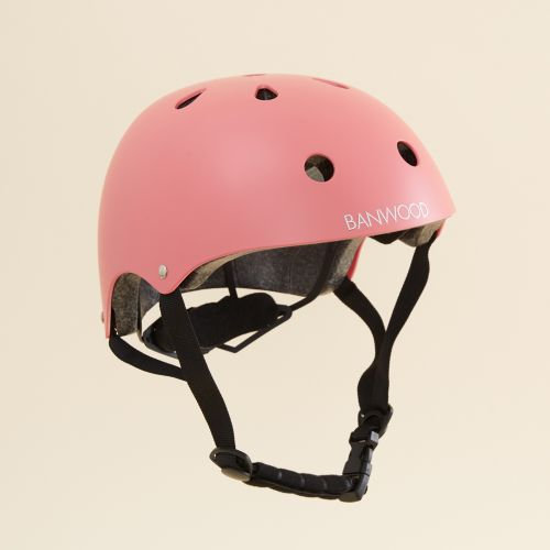 Personalised Banwood Classic Bicycle Helmet in Coral Pink