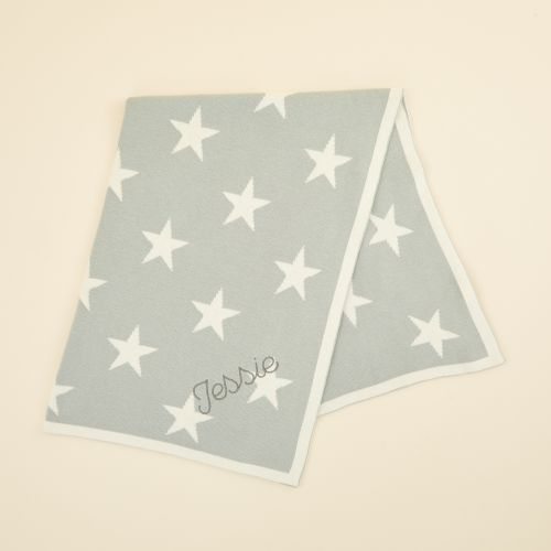 Personalised Light Blue Star Intarsia Blanket