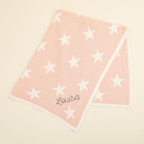 Personalised Pink Star Intarsia Blanket