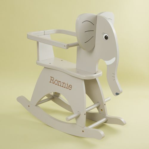 Personalised Grey Wooden Elephant Rocker