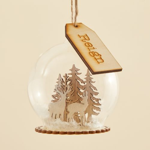 Personalised Glass Bauble with Wooden Reindeer Scene