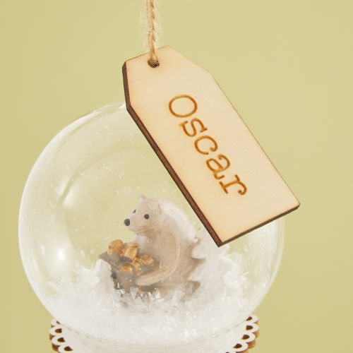 Personalised Glass Bauble with Wooden Bear Scene