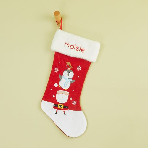 Personalised Small Fur Top Santa & Penguin Stocking