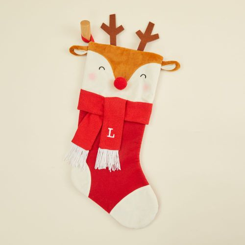 Personalised Medium Reindeer Face Stocking