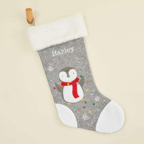 Personalised Medium Fur Top Penguin Stocking