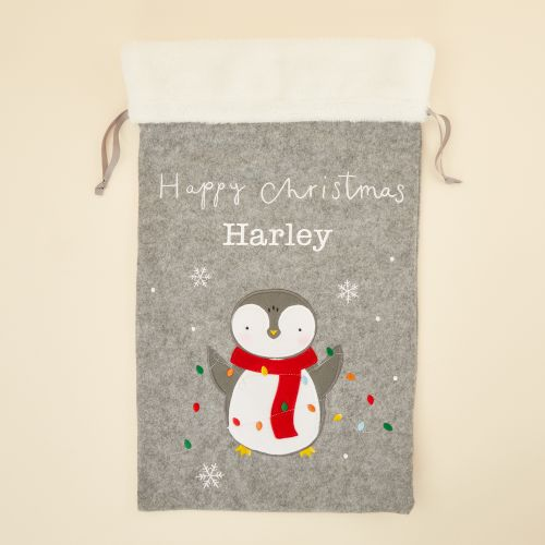 Personalised Fur Top Penguin Christmas Sack