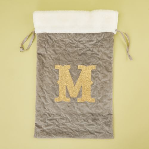 Personalised Embossed Grey Velvet Christmas Sack