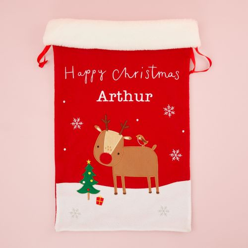 Personalised Fur Top Reindeer Christmas Sack