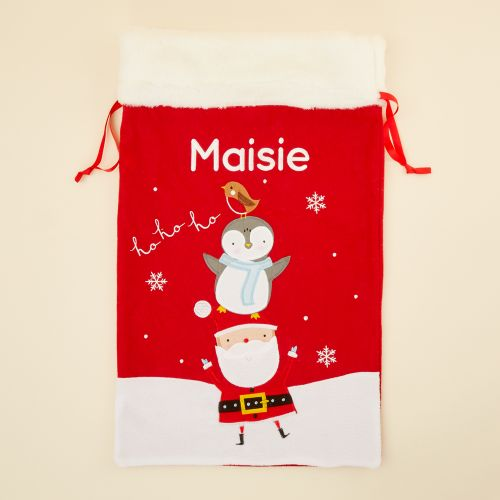 Personalised Fur Top Santa & Penguin Christmas Sack