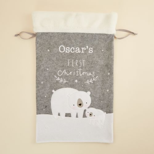 Personalised Fur Top 1st Christmas Sack