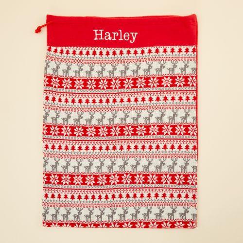 Personalised Red Fairisle Christmas Sack