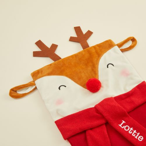 Personalised Large Reindeer Face Stocking