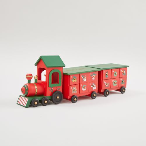 Personalised Green Wooden Advent Train