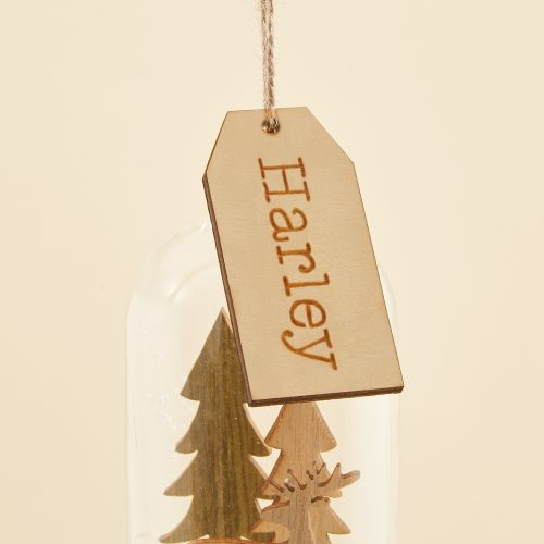 Personalised Dome Glass Bauble with Wooden Reindeer Scene