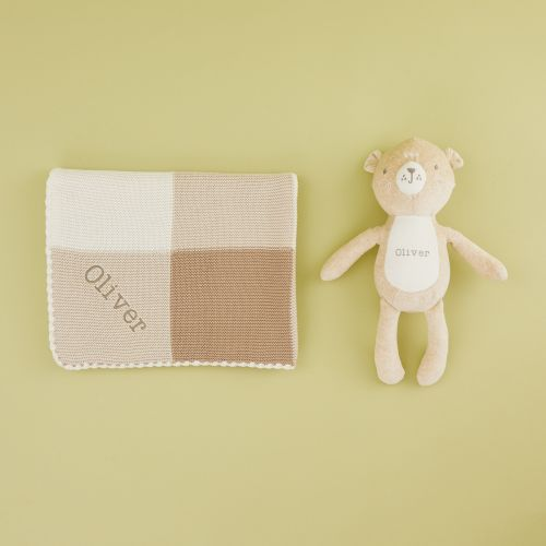 Personalised Unisex Neutral Blanket & Bear Gift Set