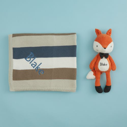 Personalised Mr Fox Soft Toy and Blanket Gift Set