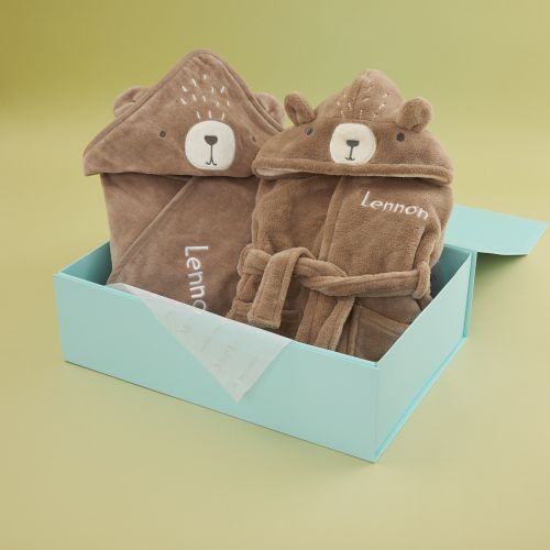 Personalised Bear Robe and Hooded Towel Gift Set