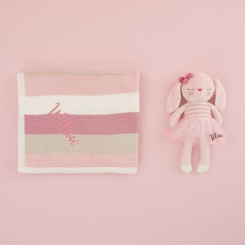 Personalised Little Bunny Soft Toy and Blanket Gift Set