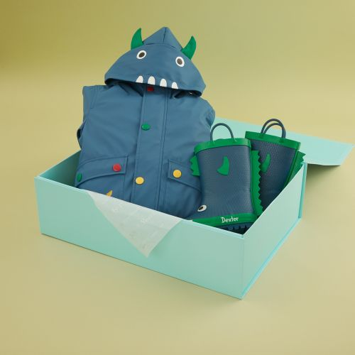 Personalised Little Monster Rain Coat and Wellies Gift Set