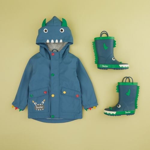 Personalised Little Monster Raincoat and Wellies Gift Set