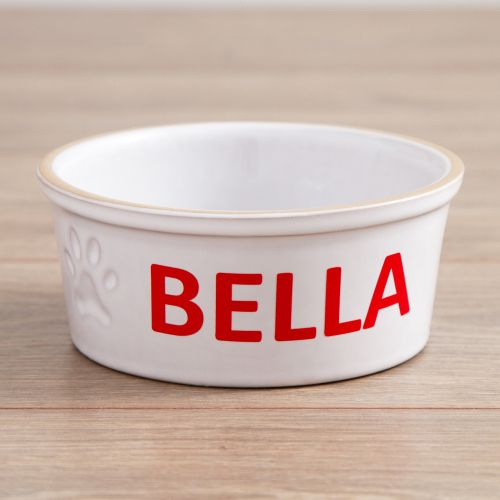 Personalised Small Ceramic White Dog Bowl