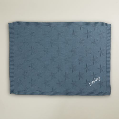 Personalised Blue Star Jacquard Blanket