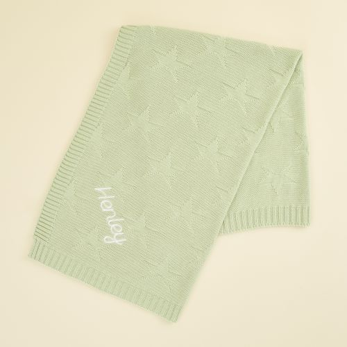 Personalised Sage Green Star Jacquard Blanket