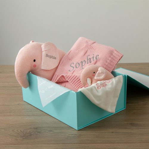 Personalised Pink Elephant Baby Gift Set