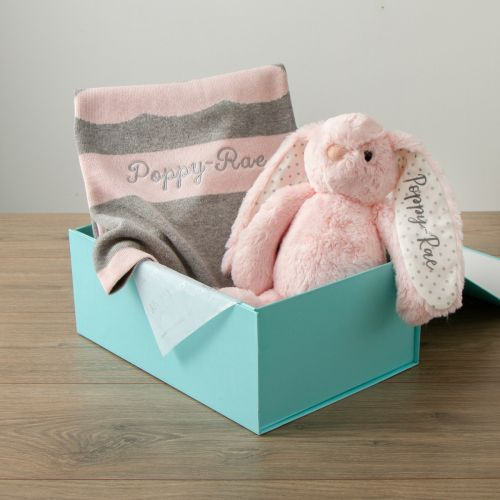 Personalised Pink Bunny Blanket Gift Set new Image