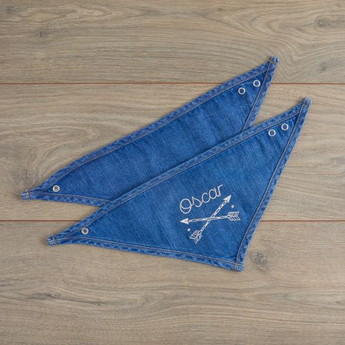 Personalised Tribal Design Denim Bandana Bibs (2pk)