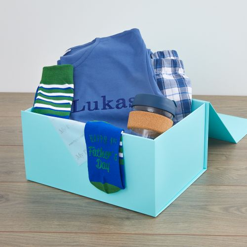 Personalised Pyjamas, Socks and Coffee Cup Father's Day Gift Set