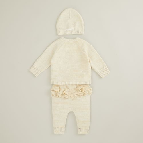 Personalised Oatmeal Knitted Baby Outfit Set (3 piece)