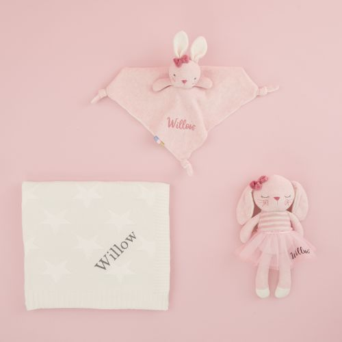 Personalised Baby Bunny and Blanket Gift Set