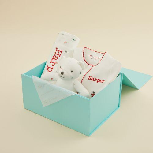 Personalised Christmas Print Organic Baby Gift Set