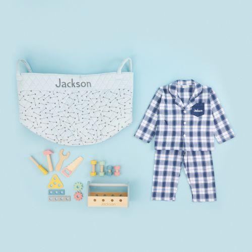 Personalised Blue Playtime & Pyjamas Gift Set