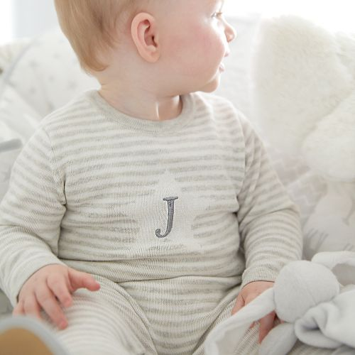 Personalised Grey Striped Romper