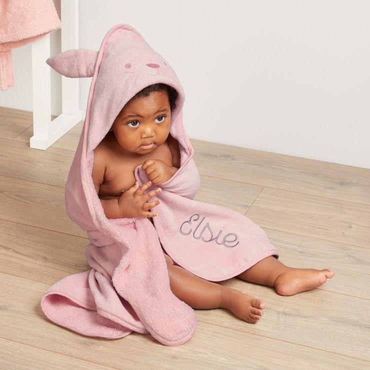Personalised Pink Bunny Hooded Towel