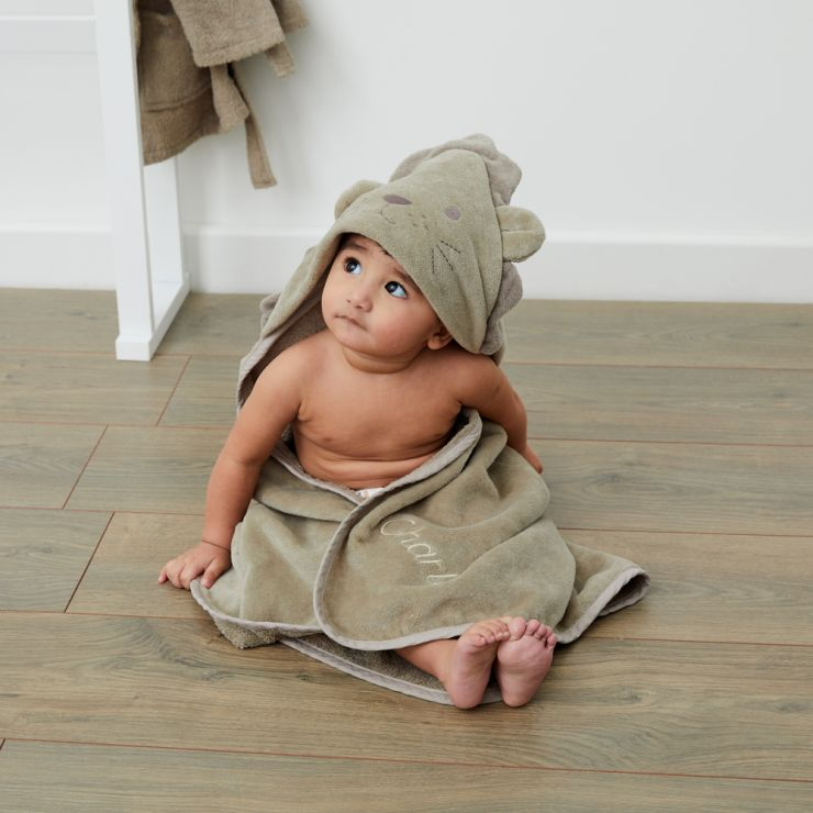 Personalised Taupe Lion Hooded Towel