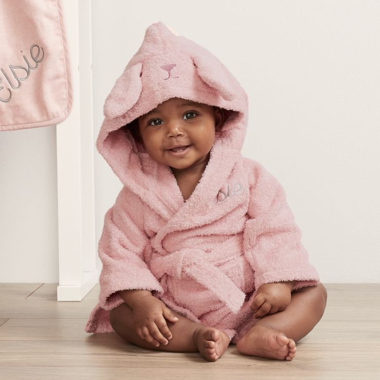 Personalised Pink Bunny Towelling Robe