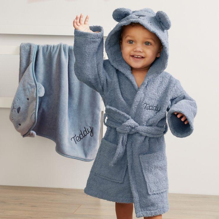Personalised Blue Bear Towelling Robe