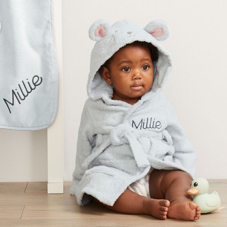 Personalised Grey Mouse Towelling Robe