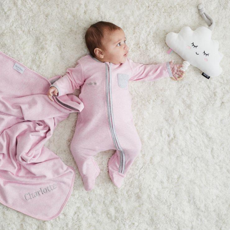 Personalised Pink Marl Sleepsuit