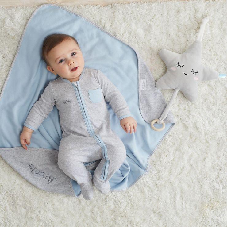 Personalised Grey Marl Sleepsuit