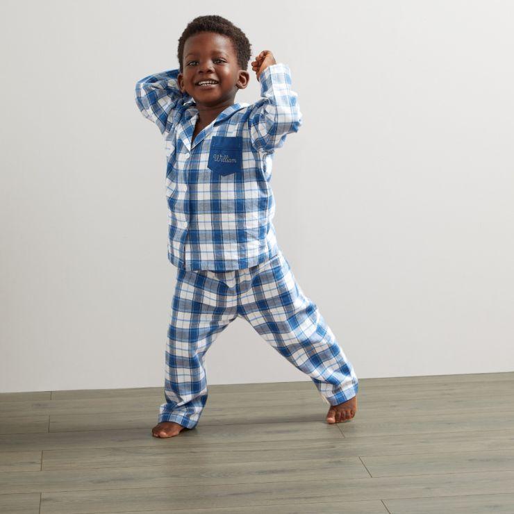 Personalised Traditional Navy Check Pyjamas