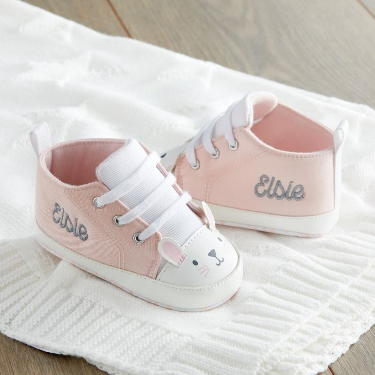 Personalised Pink Bunny High Top Trainers