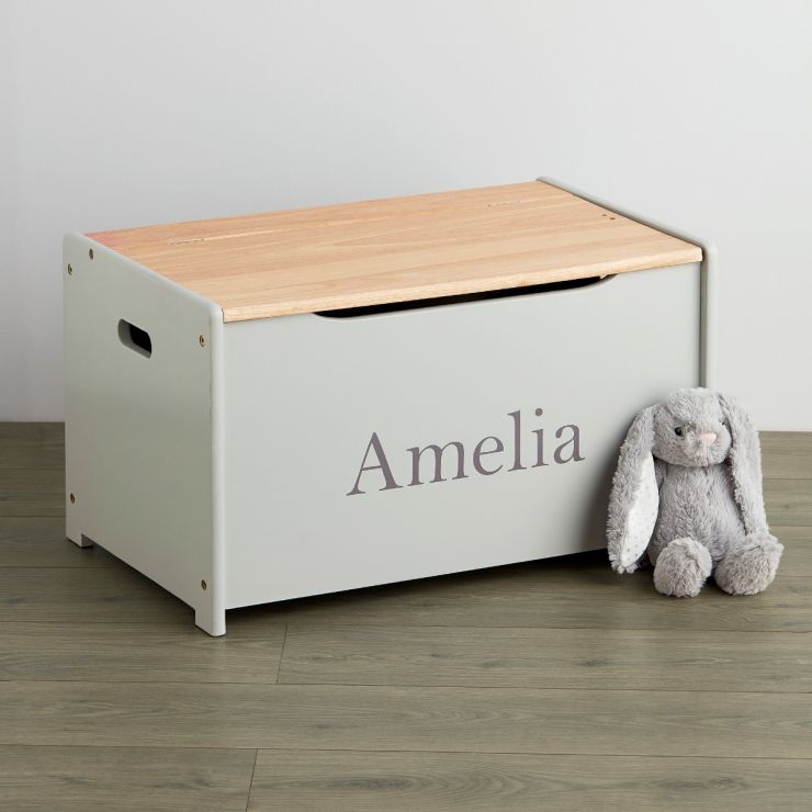 Personalised Grey Toy Box