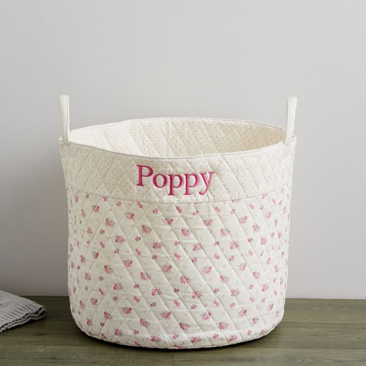 Personalised Large Cream Ditsy Print Storage Bag